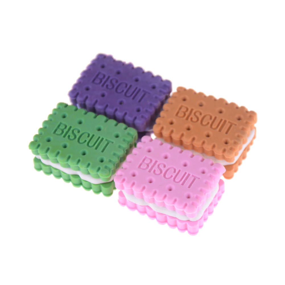 4pcs/lot Korean-style Stationery Cute Novelty Pencil Eraser Colorful Kawaii Biscuit Eraser Student Teaching Office Supplies