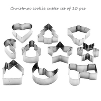 10pcs Set Stainless Steel Christmas Cookie Cutter Set Star Heart Tree Sock House Snowflake Bell Shape