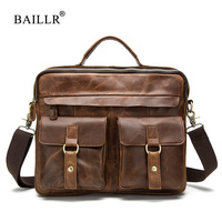 BAILLR Brand Men Genuine Leather Handbag Men Briefcase Crazy Horse Cowhide Real Leather Men Crossbody Shoulder