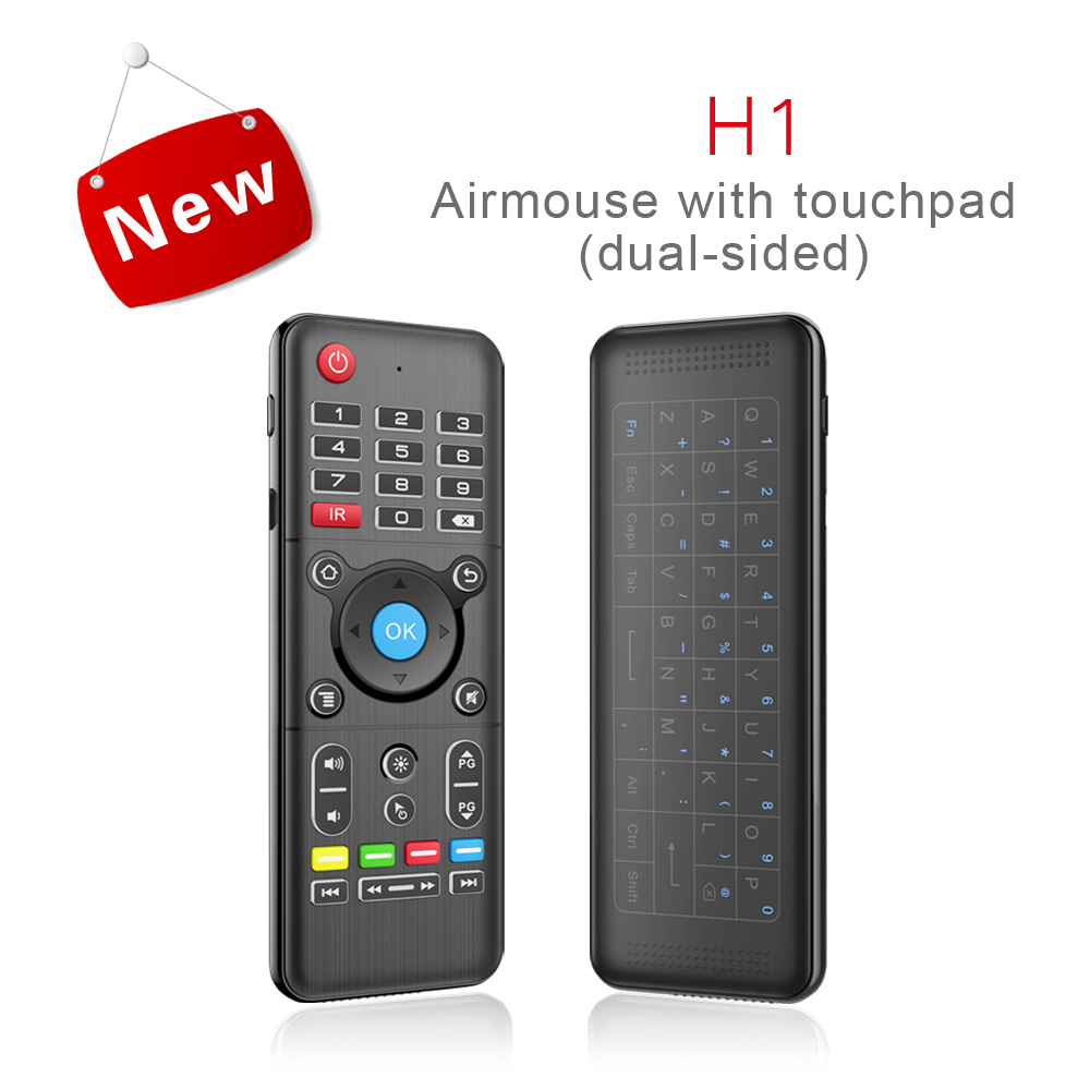 H1 2.4GHz Wireless IR learning fly air mouse Full Touchpad Keyboard tv Remote Control not backlit For Windows PC Android TV Box fly e135 grey tv