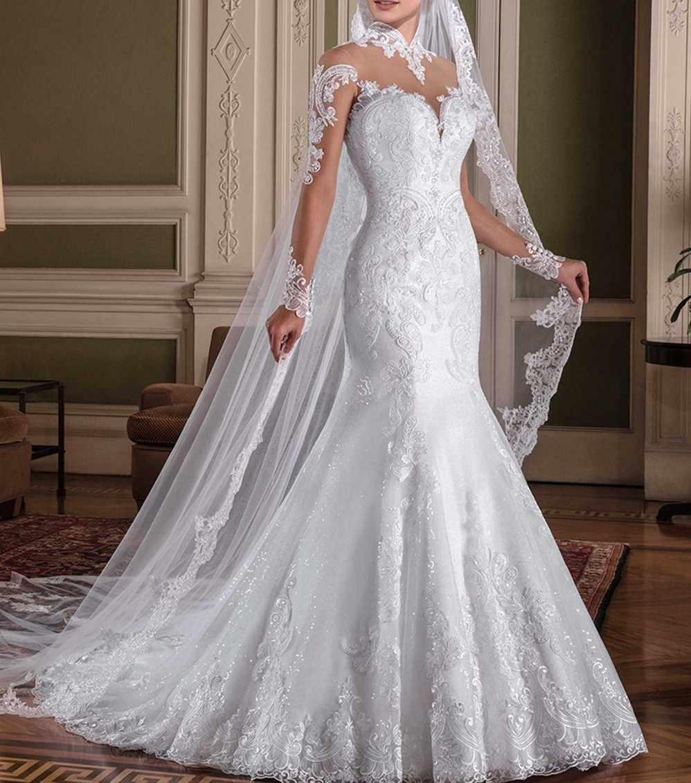 Vestido de noiva com Mangas Compridas Sereia Vestidos de Noiva Alta Neck Lace Apliques Vestidos de Noiva 2018 Robe de mariee vestido de Casamento