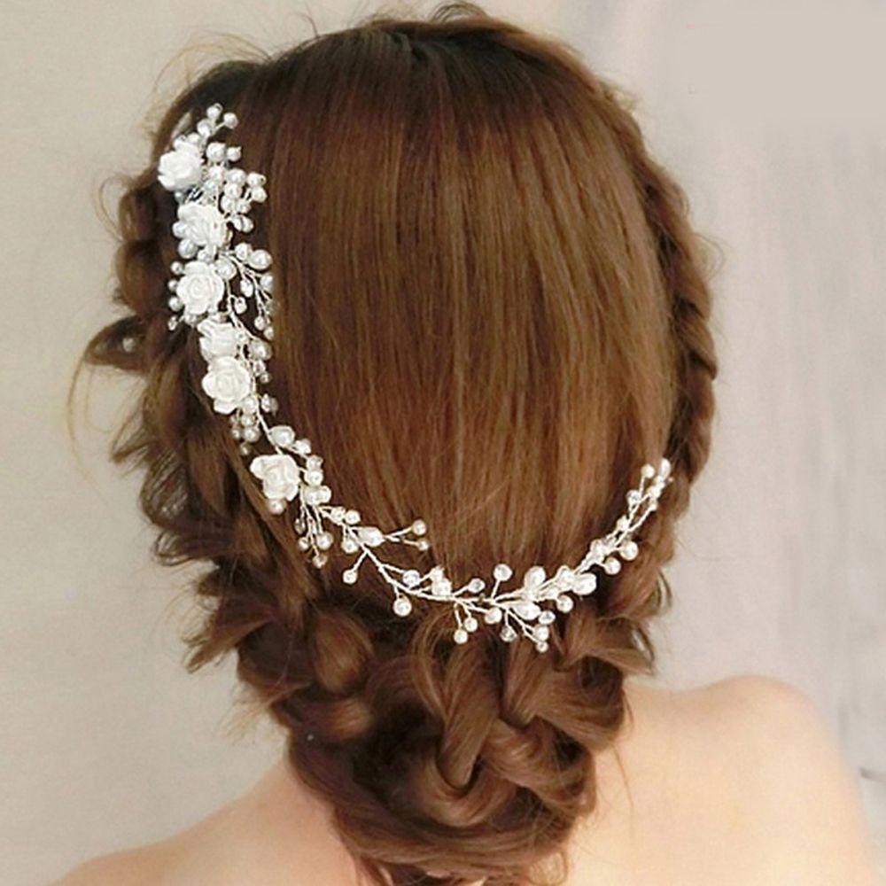 1 Stück Shiny Kristall Braut Perle Haar Kamm Hochzeit Weiße Blume Stirnband Prom Haarschmuck Frauen Schmuck Zubehör