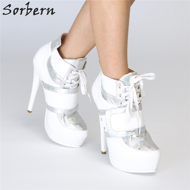 many styles 2018 shoes best website Sorbern White Lace Up Women Pump High Heel Shoes Platform Bridal ...