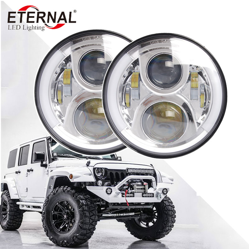 2pcs x 60W 7inch round LED headlight PAR56 Hi/Lo Beam headlamp for off road Jeep JK CJ TJ 4WD 4x4 Land Rover Lada niva truck