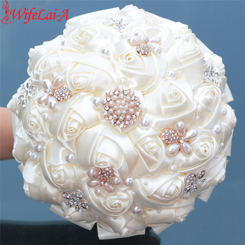WifeLai-A Ivory Color Bride Bouquet Soft Ribbon Silk Wedding Flowers De Noiva Pearl Diamond Beaded Accept Custom Size W252-17