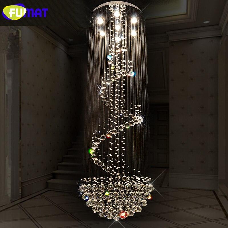 Křišťálové lustry FUMAT K9 Moderní spirálová závěsná světla LED hotel Villa Lobby Luxusní LED křišťálový lustr Obývací pokoj