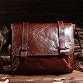 Top Quality Men Genuine Leather Messenger Bag Male Casual Business Shoulder Bag Vintage Retro IPad Holder Brown Black Briefcase