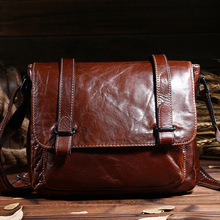 Top Quality Men Genuine Leather Messenger Bag Male Casual Business Shoulder Bag Vintage Retro IPad Holder Brown Black Briefcase