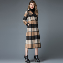 2016 Winter Fashion Double Breasted Wool Trench Coat Women Plaid X-Long Design Slim Outerwear Plus Size S- 4XL