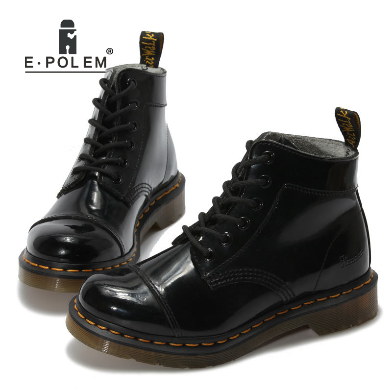 New Shimmer Black Gothic Martin Boots Fashion Steampunk Shoes Cowhide  Genuine Leather Military Uniform Ankle Booties 24ccbbfbb76
