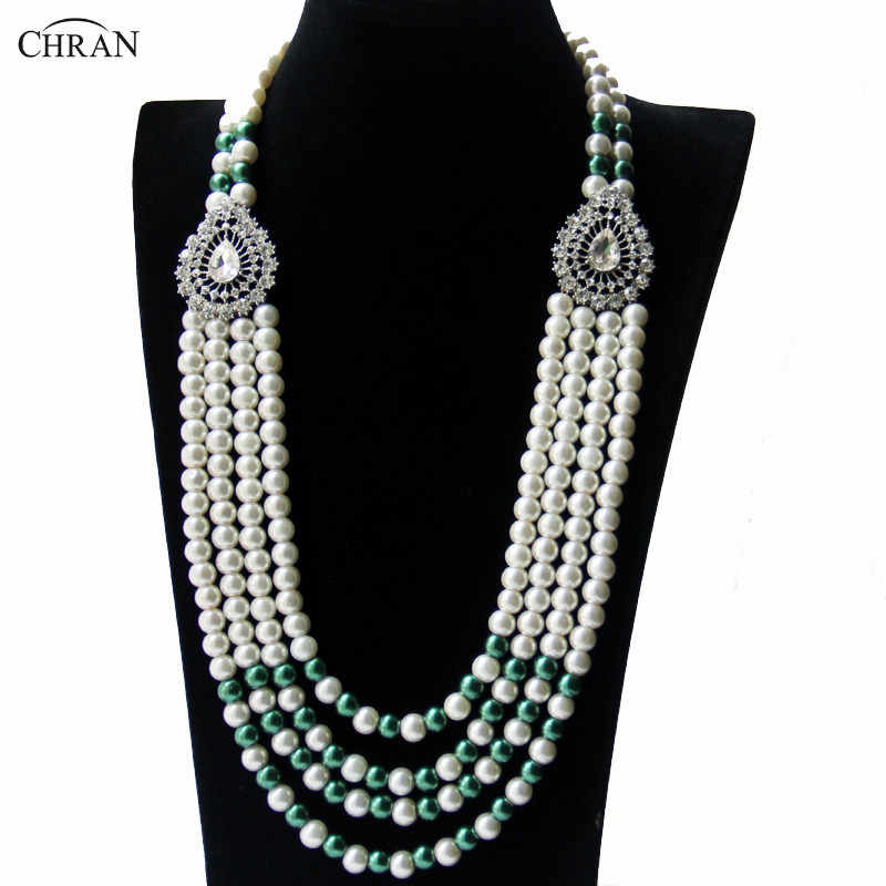 Chran Silver Color Vintage Rhinestone Crystal Bridal Faux Pearl Necklace Fashion Women Long Jewelry Free Drop Shipping