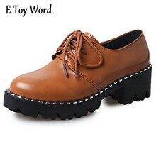 E игрушки слово модная обувь на платформе Для женщин толстый каблук Оксфорд Обувь Для женщин Лакированная кожа лианы Повседневное весна женская обувь