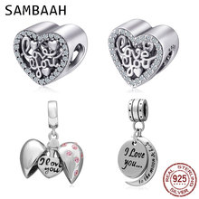 Sambaah I Love You More Heart Charm 925 Sterling Silver CZ Stone Love Beads fit Original Pandora Valentine's Day Bracelet