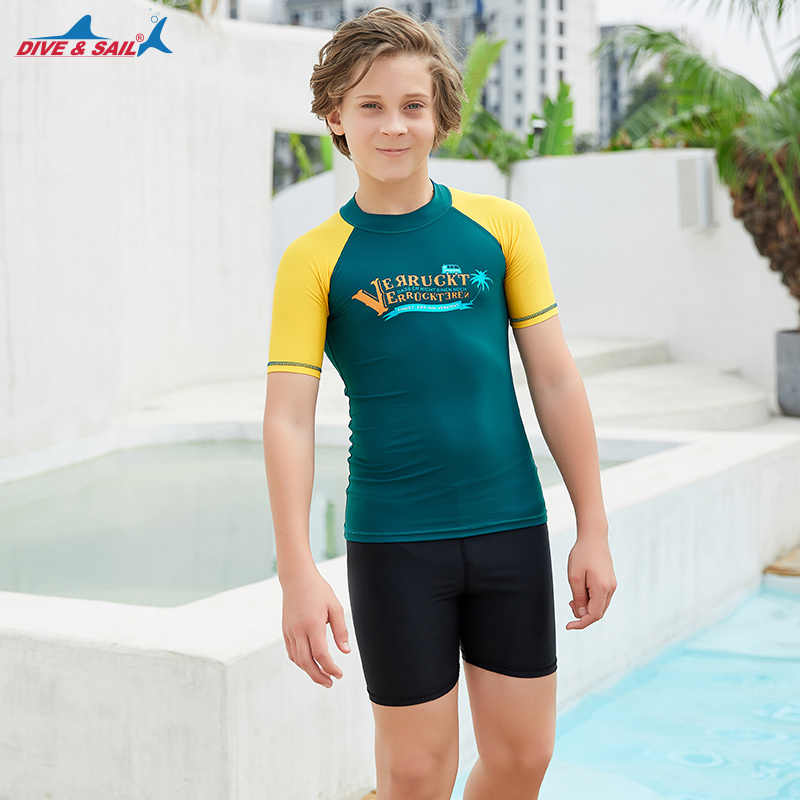 Anak Laki-laki/Perempuan Panjang/Lengan Pendek Ruam Penjaga Berenang Tee UPF 50 + Sun Kemeja K Berlaku Perlindungan Sinar UV Surf atasan UPF 50 + untuk Anak-anak Muda