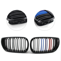 1 Pair Gloss Black Racing Grills M Color Car Front Grille Grilles For BMW E46 4