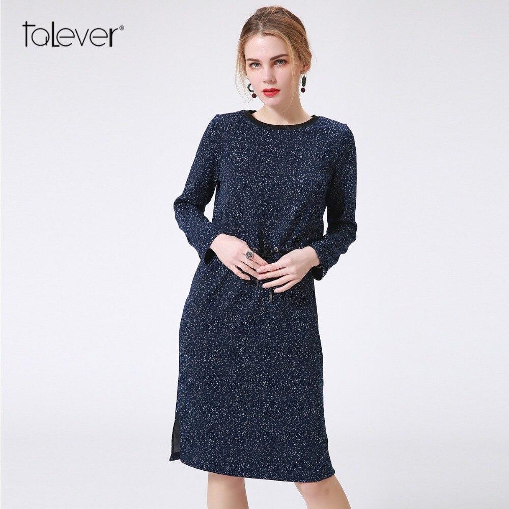 La Women Autumn Manica Casual lunga Dress Talever HYE2e9IWD
