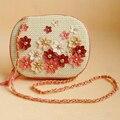 Lolita Estilo Flores de Tecido Mulheres Mensageiro Sacos de Moda Bonito Mini Bolsa de Ombro Senhora Fresco Portfolio Saco Crossbody Embreagem Bolsa