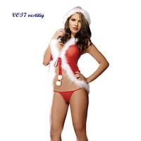 Sexy Christmas dress VOT7 vestitiy Charm Christmas Underwear Women's Sexy Lingerie Red Babydoll Dress Female Sleepwear Oct 24