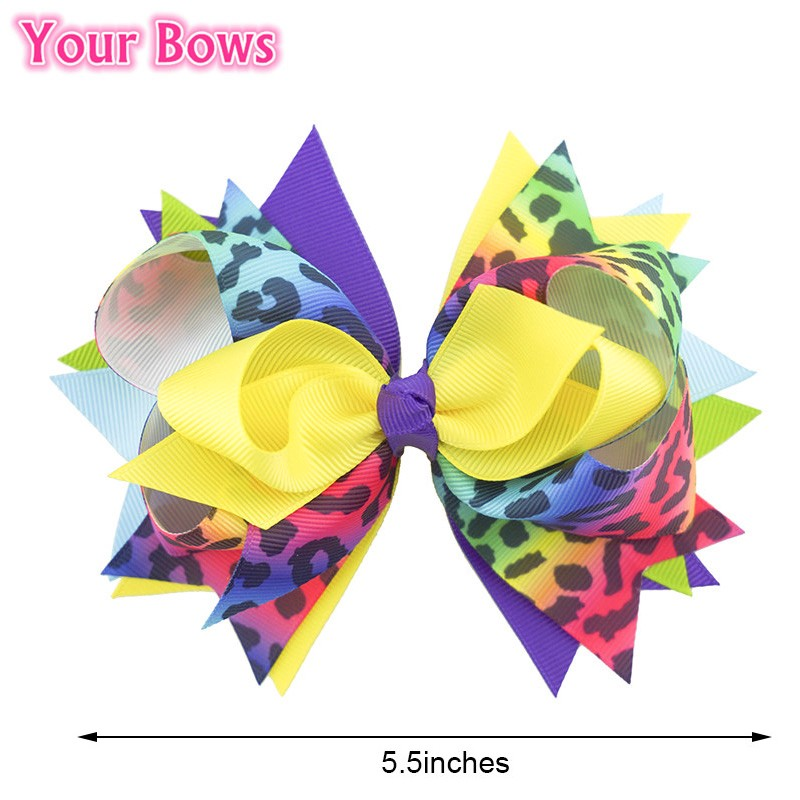 Your Bows 1PC 5.5 Inch Rainbow Leopard Girls Hair Bows Polyester Bows - Accesorios para la ropa - foto 2