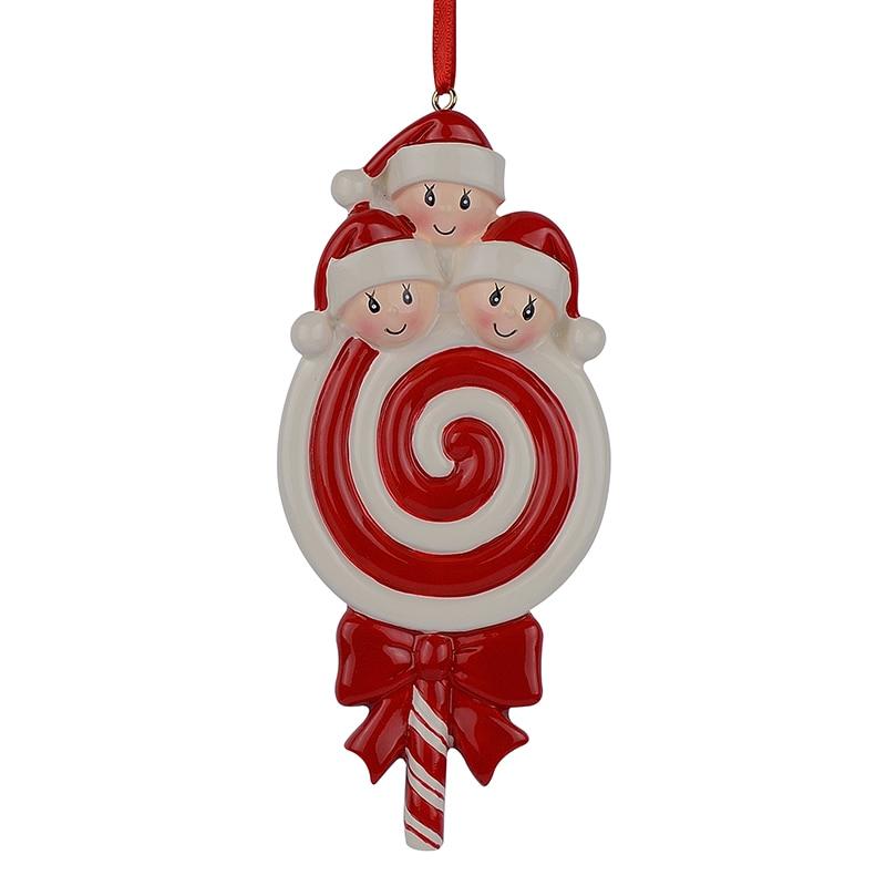 Lollipop rodina 3 Baby pryskyřice lesklý vánoční strom ozdoby jako řemeslo Suvenýr pro přizpůsobené dárky Home Party dekorace  t