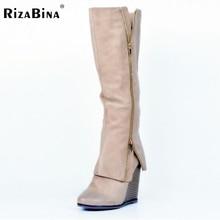 ขนาด34-47ผู้หญิงรองเท้าฤดูใบไม้ร่วงฤดูหนาวสุภาพสตรีแฟชั่นลิ่มรองเท้าส้นสูงเข่าขาสูงหนังบูตยาวยี่ห้อออกแบบ