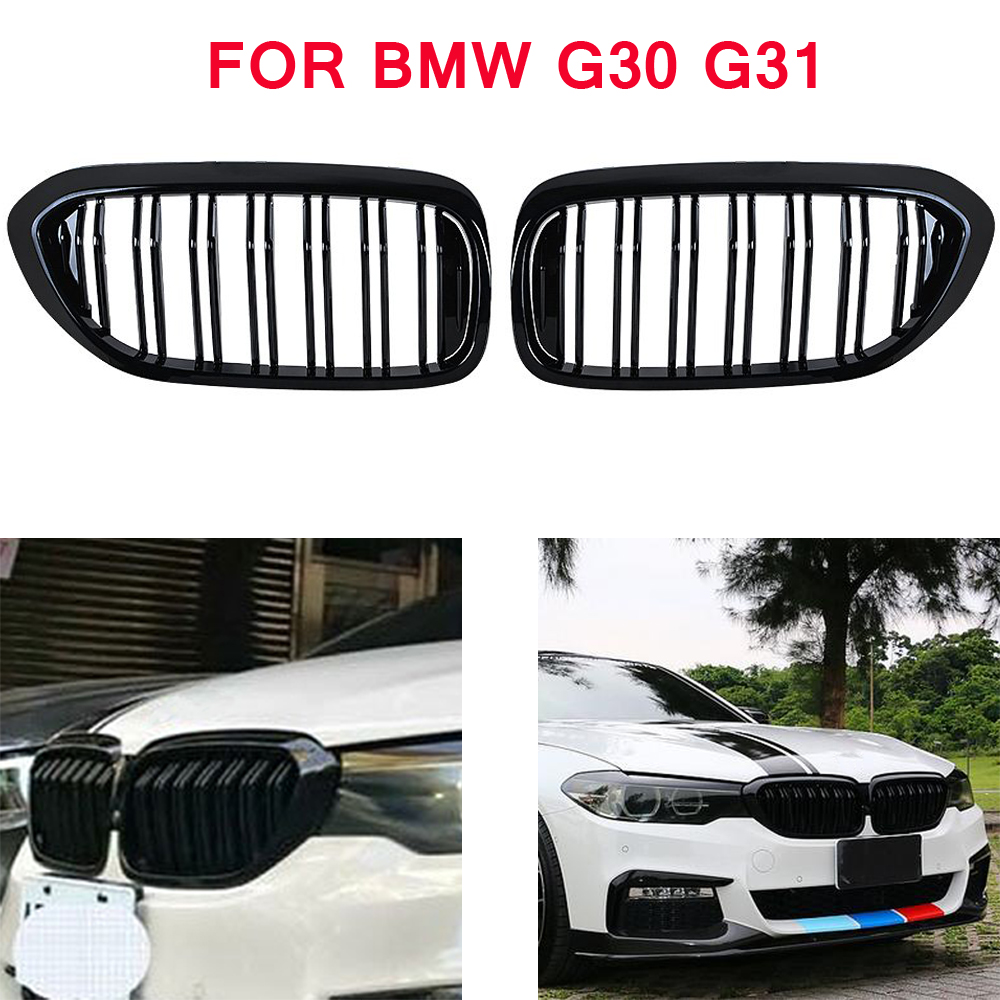 front bumper <font><b>grill</b></font> for BMW 5 series M5 G31 520i 530i 540i 2-slat black front kidney grille for <font><b>G30</b></font> G31 2016-2019 4-DOOR image