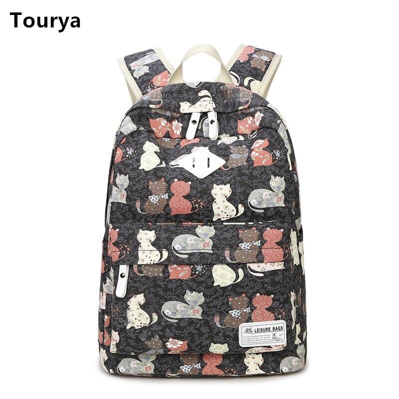Tourya Vintage Canvas Women Backpack School Bags Schoolbag For Teenagers Girls Cat Printed Travel Backbag Laptop Bagpack Mochila knights of sidonia volume 10