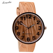 New Style Wood Grain Leather Quartz Waterproof Watches Women Dress Wristwatches Men Clock wholesale F3