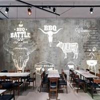 Free Shipping American Retro Steak Western Restaurant Beef Hot Pot Shop Brick Wall Mural Kitchen Wallpaper