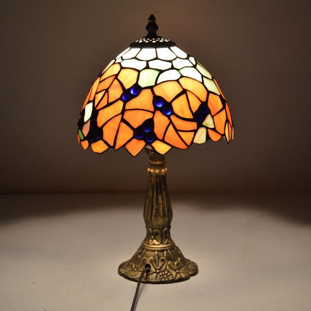 8 Pouce Tiffany Lampe de Table Pays Style Feuilles D\'érable Vitrail ...