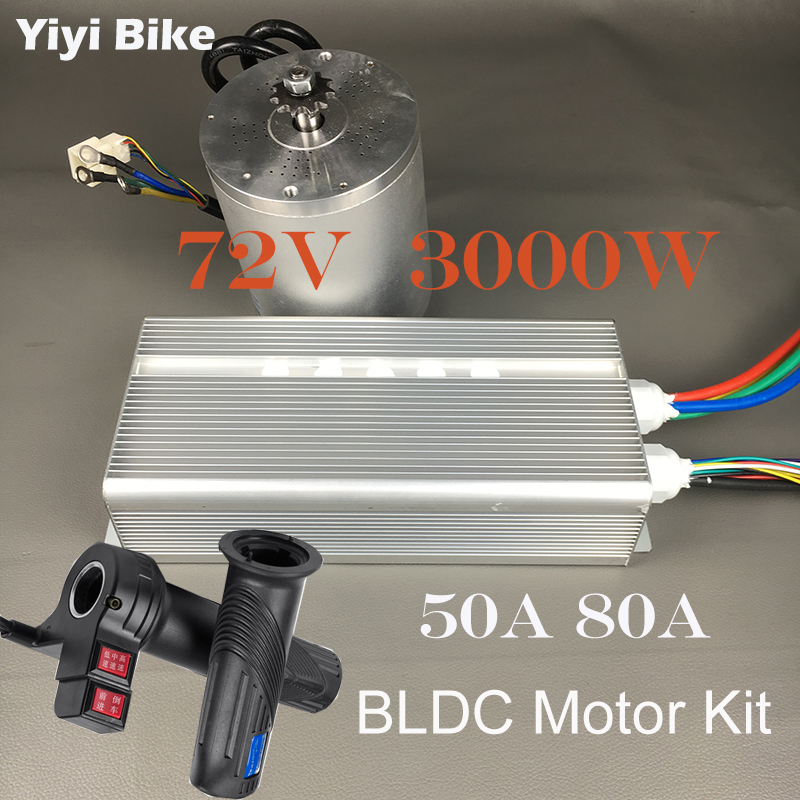 Electric Bicycle Conversion Kit DC Motor 72V 3000W Brushless Motor Controller With Reverse Twist Throttle For