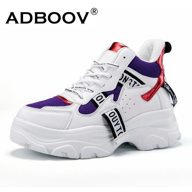 d0a68202 ADBOOV/новая осенне-зимняя модная женская обувь из искусственной кожи,  кроссовки на платформе, женские кроссовки, повседневная обувь, scarpe donna  ...