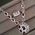 Lujoso Mozambique granate joyería sólido 925 sterling silver jewelry set collar de granate natural colgante anillo del pendiente de gota