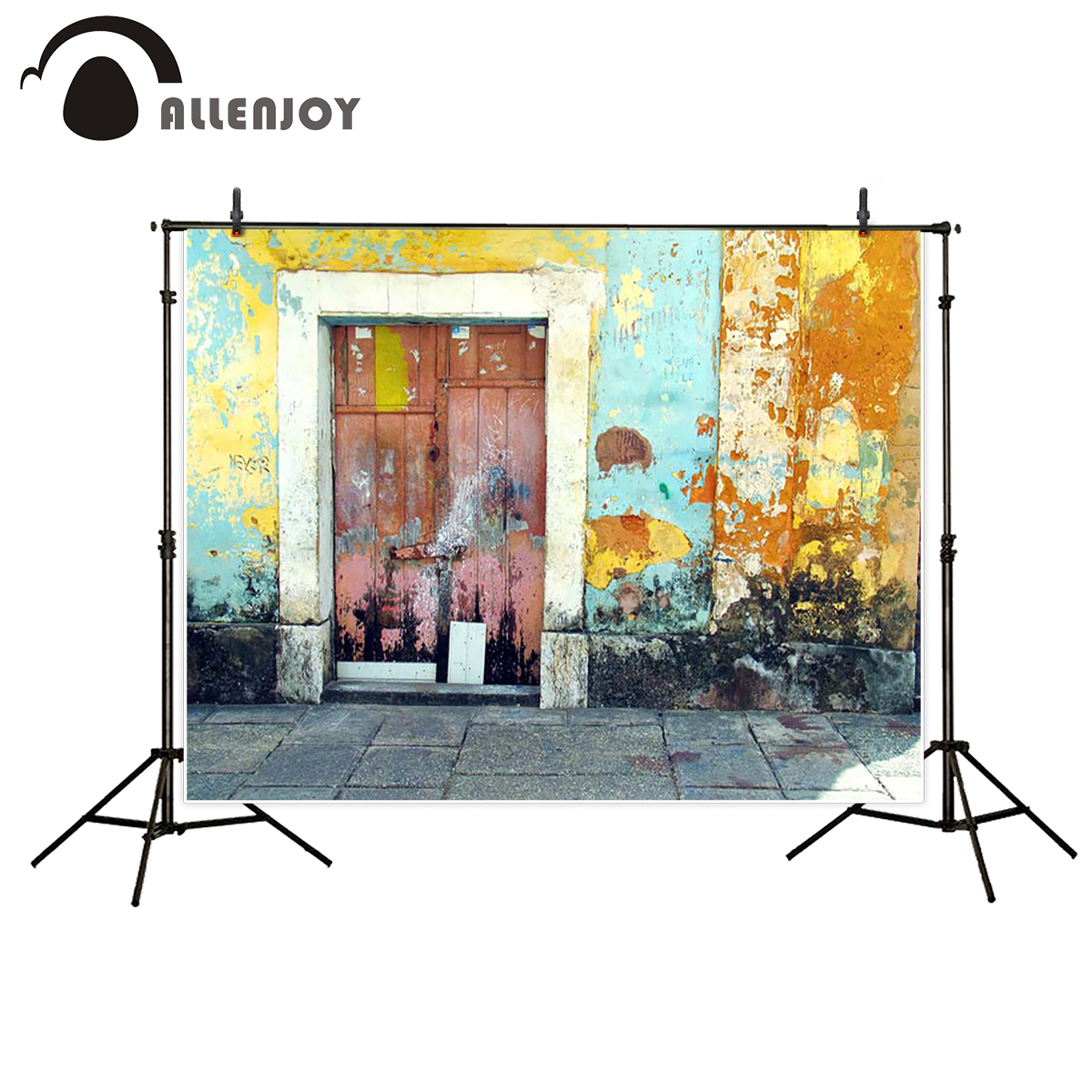 Allenjoy photography backdrop colorful brick wall old door background photo studio professional fabric photobooth 3x5ft crack gray wall brick wall photography backdrop background photo studio