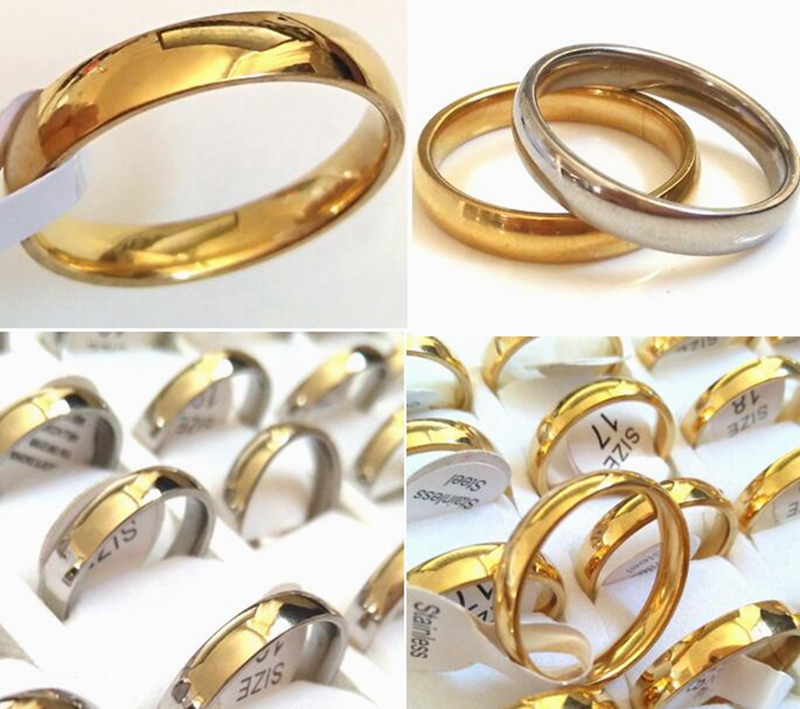 Bulk Lots 200pcs High Polished 4mm Stainless Steel Wedding Rings Comfort fit Jewelry Simple Plain men