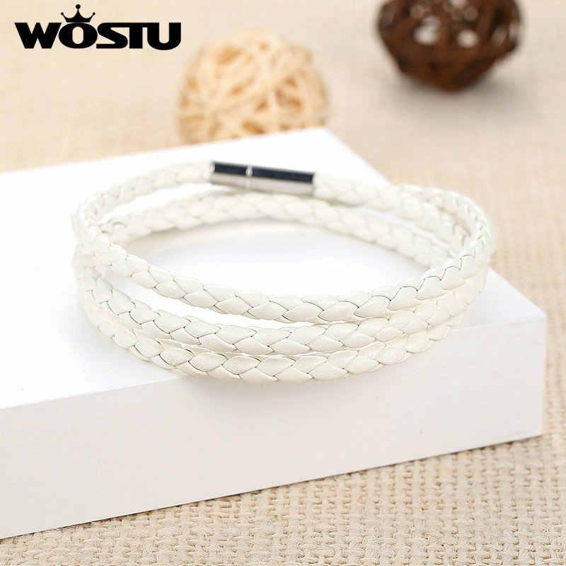 WOSTU wysokiej jakości 60CM biała skóra pu Wrap bransoletka z magnesem zapięcie jubilerskie dla kobiet mężczyzn Unisex moda Pulseira