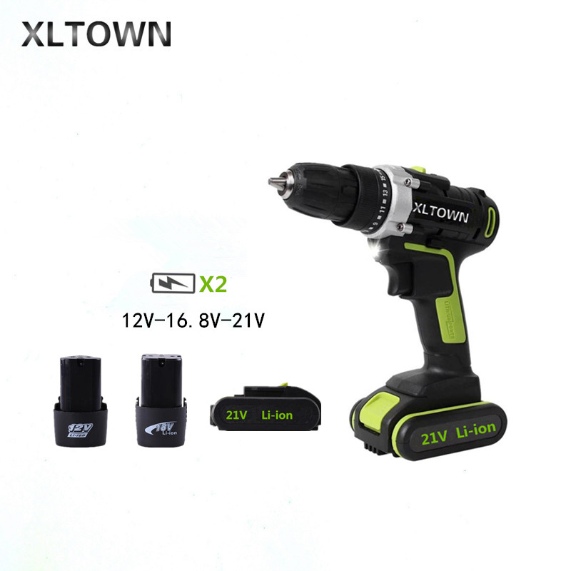 XLTOWN 12/16.8/21v Cordless Electric Drill with 2 battery Rechargeable Lithium Battery Multifunction Electric Screwdriver Tools xltown 12 16 8 21v cordless lithium electric drill with 2 battery multi function rechargeable electric screwdriver power tools