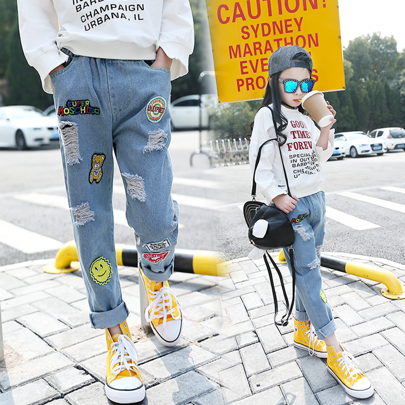 2017 Hot Sale Baby Girls Jeans Hole Ripped Jeans For Kids Cartoon Jeans  Kids Fashion Vintage - Online Get Cheap Baby Ripped Jeans -Aliexpress.com Alibaba Group