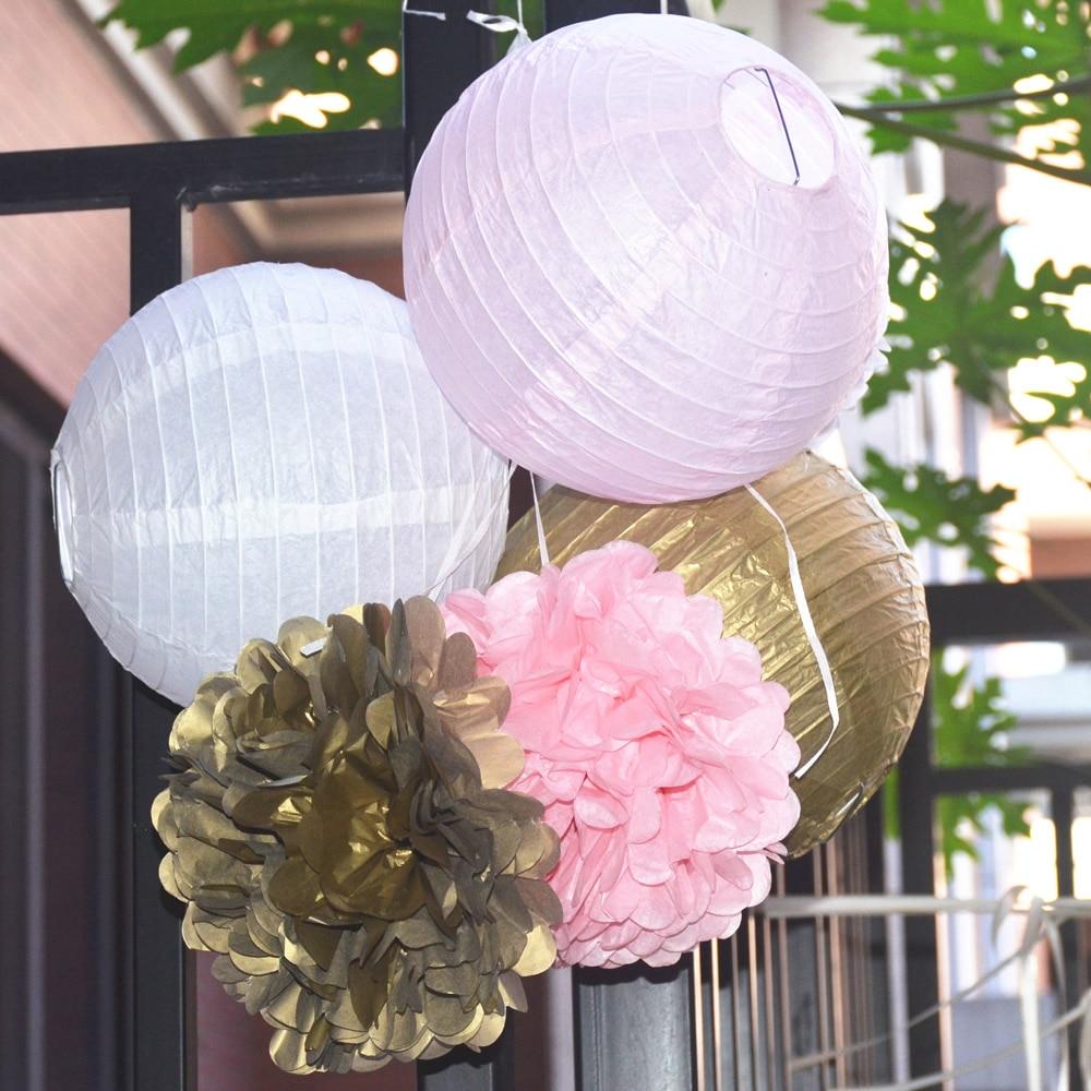 6pcs Set (Gold,Pink,White) Paper Lanterns Tissue Paper Pom Poms ...