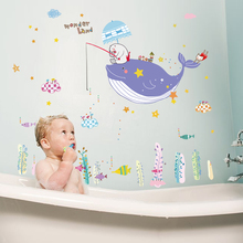 SK7022 Wonderful Sea World Whale Wall Art Window Bathroom Decoration Stickers for Kids Room