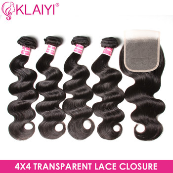 KLAIYI Hair Brazilian Body Wave 4 Bundles With Transparent Lace Closure Free part Lace Closure With Bundles Human Remy Hair