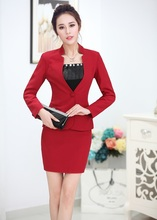 New Formal Uniform Style Novelty Red Professional Business Suits Jackets And Skirt 2015 Autumn And Winter