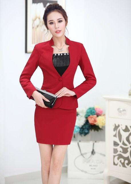 New Formal Uniform Style Novelty Red Professional Business Suits Jackets And Skirt 2015 Autumn And Winter Ladies Office Blazers