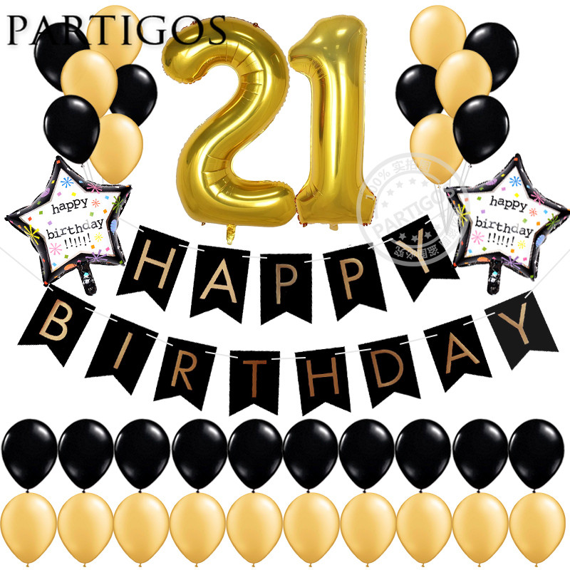 37pcs lot 21 18 25 30 50 years old Birthday Balloons Party Decoration Black Banner 3