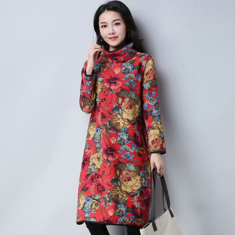 Autumn Winter Cotton Linen Women Dress Loose Large Size Knee-Length Dress Thicker Plus Size Warm Female Dress Robe QH1289