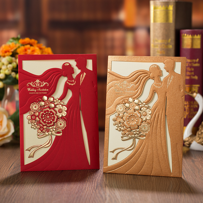 1pcs Red Gold Laser Cut Wedding Invitations Card Bride And Groom Elegant Greeting Card With Envelopes Wedding Party Decorations