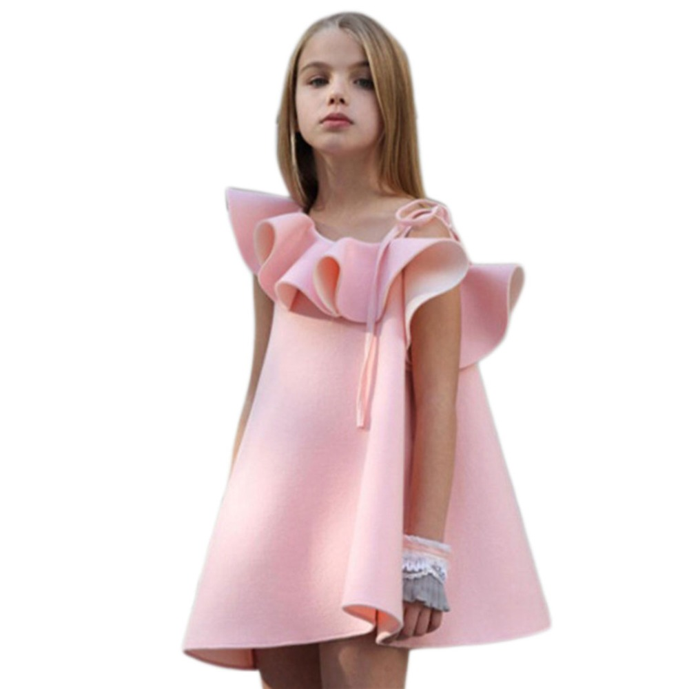 все цены на 2017 Ruffles Girls Dresses Sweet Princess Dress Baby Kids Girl Clothing Wedding Party Dresses Children Clothing Pink Vestidos F2 онлайн
