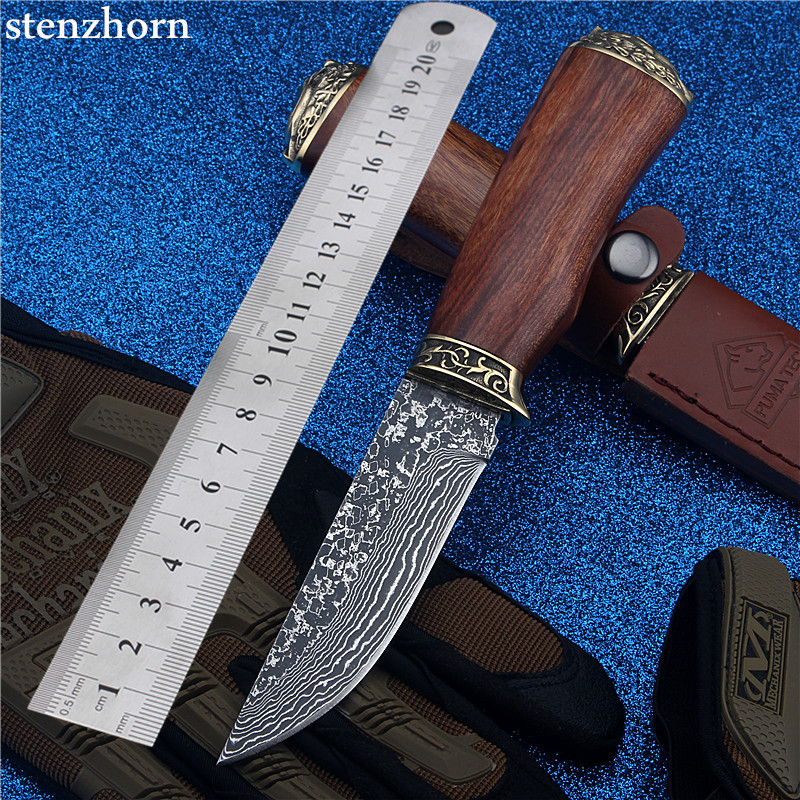 Stenzhorn Limited Damascus Straight Knife Self-defense with The Outdoor Folding Knives High Hardness Saber Fruit for Sharp Wild stenzhorn new goods wei explorer outdoor small straight knife self defense survival camping with high hardness for sharp fruit