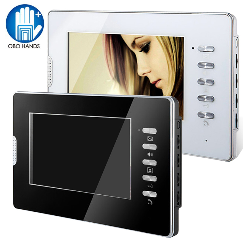7 Color HD Hands-free Wired Video Door Phone Door Monitoring System Indoor Unit Monitor for Home/Apartments with 25 Ringtone 7 inch video doorbell tft lcd hd screen wired video doorphone for villa one monitor with one metal outdoor unit night vision
