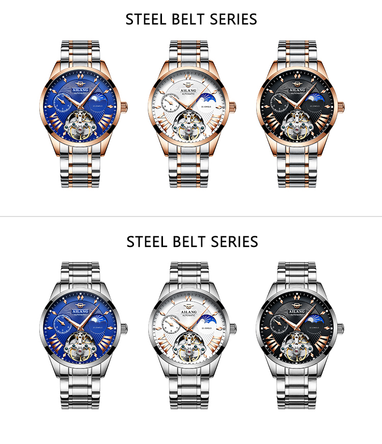 HTB1YbFAd21H3KVjSZFHq6zKppXay AILANG Quality Tourbillon Men's Watch Men Moon Phase Automatic Swiss Diesel Watches Mechanical Transparent Steampunk Clock